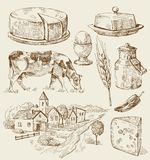 Village houses sketch with food royalty free illustration