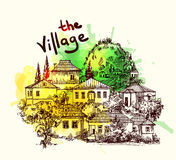 Village houses. Sketch style Stock Images