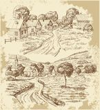 Village Houses Sketch With Food Royalty Free Stock Images