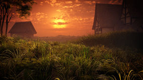 Village Houses Sunset royalty free stock image