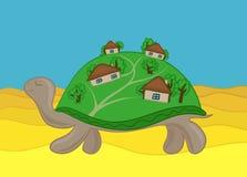 Village houses on the tortoise shell in the desert royalty free illustration