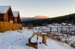 Village houses in the Ural mountains Stock Photography