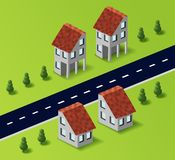 Village houses in the vector Stock Image