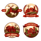 Village icons with cow and mill, barn in field. Set of isolated village or agriculture icons or badges, logo or logotypes with cow and mill on hill, meadow with Stock Photos