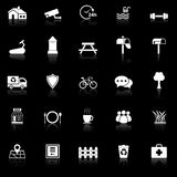 Village icons with reflect on black background Stock Images