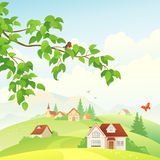Village. Illustration of a beautiful village view Royalty Free Stock Images