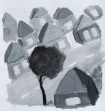 Village, illustration d'aquarelle Photos stock