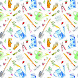 Village image with garden plants and tools seamless pattern. Stock Photo