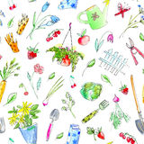 Village image with garden plants and tools seamless pattern. Stock Image