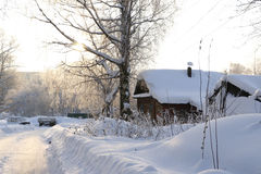 Village In A Winter Day Royalty Free Stock Photos