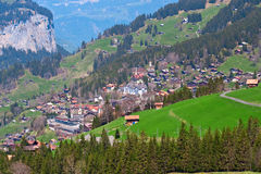 Village In Swiss Alps Stock Photos