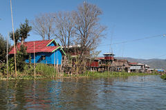 Village on Inle Lake Royalty Free Stock Photo