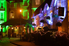 Village Inn and Holliers Hotel at Night. The Village Inn is a traditional English pub situated in the Old Village at Shanklin on the Isle of Wight. Here it can Stock Photos