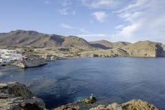 Village Isleta del Moro, cabo DE gata, andalusia, Spanje, Europa, het strand royalty-vrije stock afbeelding