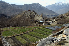 Village of Jhong, Muktinath District, Nepal. A picturesque old village of Jhong, Muktinath District, Annapurna Range, Nepal Royalty Free Stock Photos