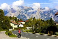 Village in Julian Alps. Picturesque Slovenian village nestled in the Julian Alps Royalty Free Stock Photos