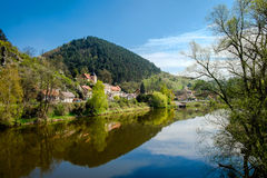 Village Karlstein and Berounka river, Czech Republic Royalty Free Stock Image