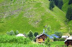A village in the Kashmir Valley. Alps of the heavenly beautiful Neelum Valley royalty free stock image