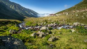 Village of Kavrun plateau or tableland in Kackar Mountains. Or simply Kackars in Camlihemsin, Rize, Turkey Royalty Free Stock Images