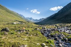 Village of Kavrun plateau or tableland in Kackar Mountains. Or simply Kackars in Camlihemsin, Rize, Turkey Royalty Free Stock Photo