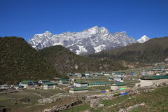 Village Khumjung and snow capped Kongde Ri Royalty Free Stock Image