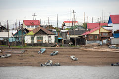 Village at Kolyma river coast outback Russia Royalty Free Stock Images