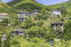 Village of Kosovo with Authentic nineteenth century houses, Plovdiv Region, Bulgaria. View of village of Kosovo with Authentic nineteenth century houses, Plovdiv stock images