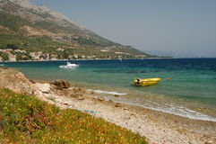 superb scenic view of adriatic beach in village Ku Stock Photography