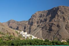 The village of La calera is embedded between mountains in the valley of Gran Rey stock photos