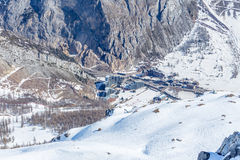 Village la Daille. View from the top of the village la Daille, Val d'Isere, Rhone-Alpes Royalty Free Stock Photo