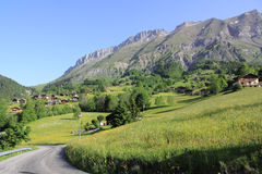 Village of La Giettaz in the Alps. Magnificent village at the heart of the massif of Aravis Stock Images
