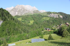 Village of La Giettaz in the Alps Stock Photo