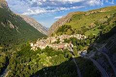 The village of La Grave in summer. Romanche Valley, Ecrins National Park, Alps, Hautes-Alpes, France. The village of La Grave in morning summer light. Romanche royalty free stock photos
