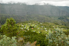 The village of La Nouvelle on cirque of Mafate. In La Reunion island, France Royalty Free Stock Photos