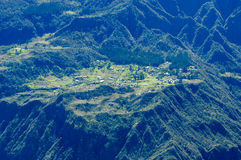 The village of La Nouvelle on cirque of Mafate. In La Reunion island, France Stock Image