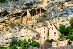 Free Village La Roque Gageac, France. Stairway To The Cave On The Mountain Side. Royalty Free Stock Photo - 166318105
