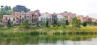 Village lagoon view panorama Stock Photography