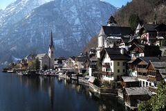 Village on Lake Hallstatt royalty free stock photo