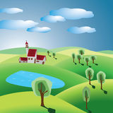 Village and lake. Hills with trees, village and lake Royalty Free Stock Photography