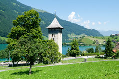 Village and lake of Lungern Stock Image