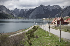 Village, lake and mountains Royalty Free Stock Photo