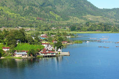 Village by lake toba, Indonesia Stock Photo