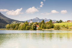Village at lake Weissensee Stock Photography