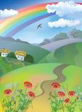 Village landscape. Summer village landscape with rainbow Stock Photo