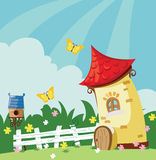 Village landscape. Village summer landscape. cartoon vector illustration Stock Photos