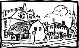 Village landscape. Black and white vector illustration Royalty Free Stock Images