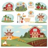 Village landscape with farm building. Stock Images