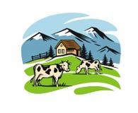 Village and landscape farm. Vector image of village and landscape farm Stock Photo