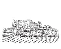 Village landscape with field and house. Hand drawn landscape with village field and house Royalty Free Stock Photo