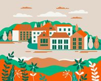 Village landscape flat vector illustration. Buildings, hills, la. Ke, flowers and trees, abstract background for header images for websites, banners, covers stock illustration